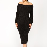 Soft Surrounding Fuzzy Dress - Black
