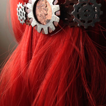 Industrial Steampunk Penny Hair Clip w/ Gears, Steampunk Hair Accessories, Bridesmaids Hair Clip, Metal Hair Accessories, Wedding Hair Clip