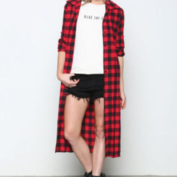 Red Plaid Flannel Midi Dress - LoveCulture