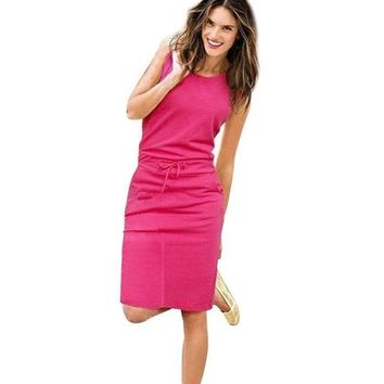 Women Pockets Sleeveless  Summer Casual Dress