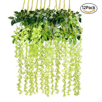 12pcs Silk Artificial Hanging Flower Silk Wisteria Plants Fake Flower Decorative Flower Wreaths For Wedding Home Garden Decor