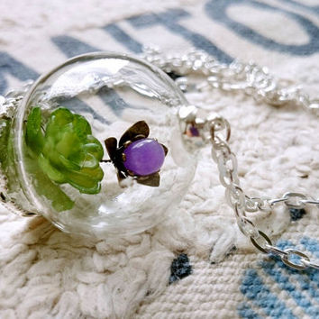 succulent plant and metal glass flower necklace  in glass  jewel gift for her vintage  silvery chains pendant birthday valentine's day gift
