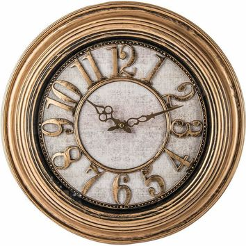 "20"" Antique Gold Round Wall Clock"