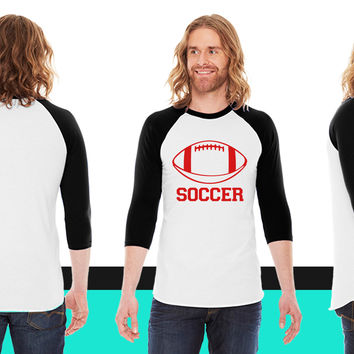 Soccer American Apparel Unisex 3/4 Sleeve T-Shirt