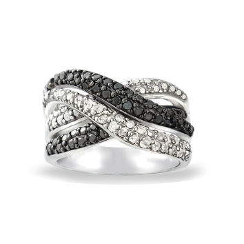 1/2ct Black & White Diamond Crossover Twist Silver Tone Band Ring