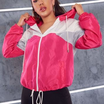 Drawstring Hem Colorblock Hooded Windbreaker Jacket