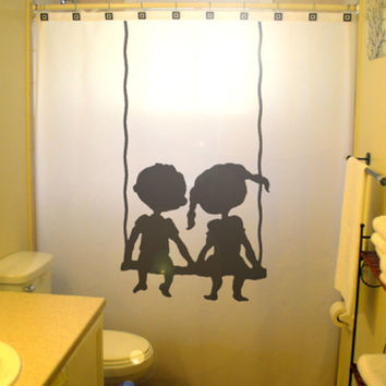 Brother Sister Children Kids Shower Curtain Shared Bathroom Decor Swing Boy Girl Bath Child Friends Siblings Family wateproof polyester