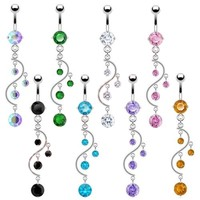 Piercing New Stainless Steel Colorful Belly Button Ring Dangle Navel Body Jewelry Piercings Tassel Free Shipping
