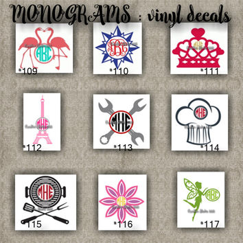 MONOGRAM vinyl decals | name | initial | decal | sticker | car decals | car stickers | laptop sticker - 109-117