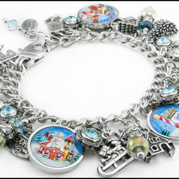 Silver Christmas Bracelet - North Pole - Winter Jewelry - Snowflake Jewelry - Winter Charms