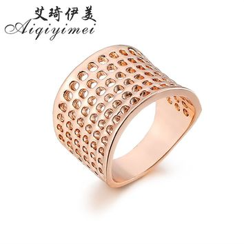 Aiqiyimei 2017 Fashion dense Mesh simple Finger Ring New Hollow Out honeycomb Rings For Women Gold/Silver Color Jewelry Gift