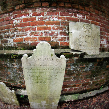 cemetery, spooky fine art photo, tombstones, lost graves, Halloween, brick wall, Sacred, perspective, eerie, creepy, graves, haunting
