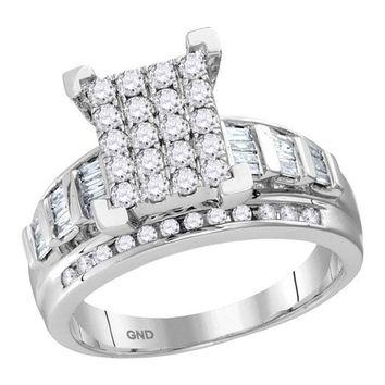 10kt White Gold Womens Round Diamond Cindys Dream Cluster Bridal Wedding Engagement Ring 7/8 Cttw - Size 6