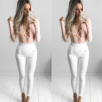 Sexy Lace Up Pink Short Triangle Jumpsuit