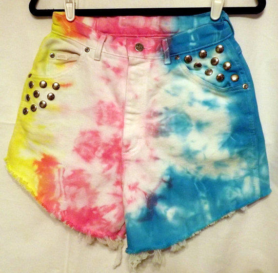 Rainbow High Waist Denim Cut Off Shorts Turquoise by twazzy