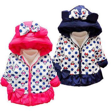 kids girl warm clothing baby cartoon clothes girls winter minnie mouse coat children cute polka dot hooded down jacket outerwear