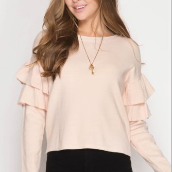 Women's Pullover Sweater with Ruffled Sleeves