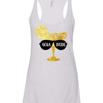 Hola Bride Tank Tops with Margarita Glass