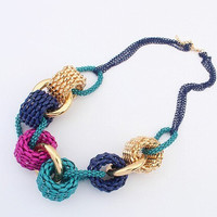 Colorful Bib Chunky Necklace