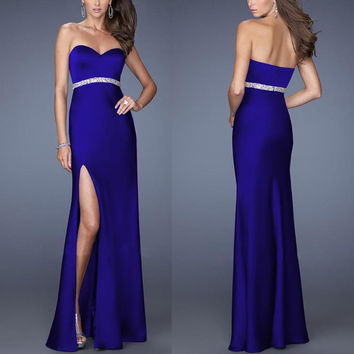 Royal Blue Strapless High Side Slit Maxi Dress with Silver Belt