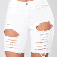 Gone Fishing Shorts- White