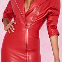 All Time Winner Red PU Faux Leather Long Sleeve V Neck Asymmetric Zip Motorcycle Trench Coat Outerwear
