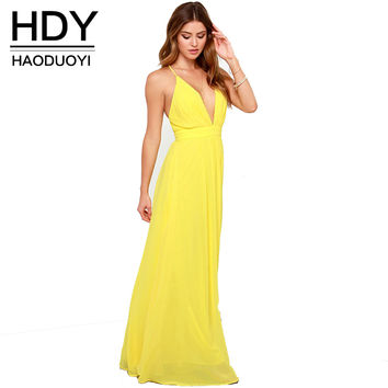 HDY Haoduoyi Solid Color Cross Back Dress Deep V-neck High Waist Strap Maxi Dress Sexy Slim Bohemian Beach Casual Dress Vestidos
