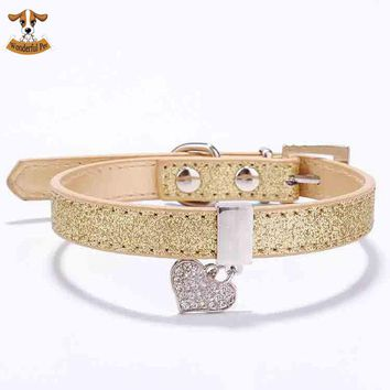 Glitter Pu Leather Dog Collars For Pet Puppy Dog With Rhinestone Bling Heart Diamond Pendant Size XS S 4 Colors