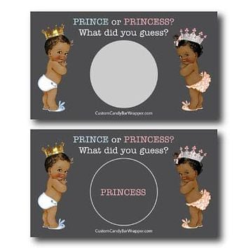 Prince or Princess Gender Reveal Scratch off Cards