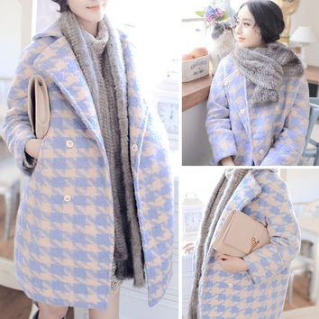 Houndstooth Print Lapel Collar Long Sleeves Wool Coat