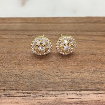 Double Halo Diamond Simulant CZ Sterling Silver Stud Earrings