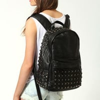 Talia Black Leather Studded Rucksack