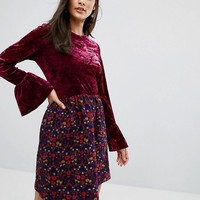 Anna Sui Crushed Velvet Dress with Jaqcuard Floral Skirt at asos.com