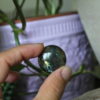 Round Labradorite Cabochon, Circle Gemstone Cab for Jewelry Making, Wire Wrapping, Electroforming, Soldering, Pagan & Witchcraft Supplies