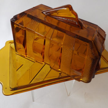 Glass Butter Dish / Art Deco Amber Glass / Cheese Dish / 1930s Pressed Glass / Covered Butter Dish /  Vintage Depression Glass England UK