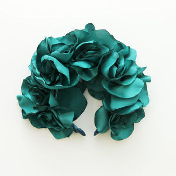 EMERALD / Green satin floral crown / kokoshnik - Ready to Ship