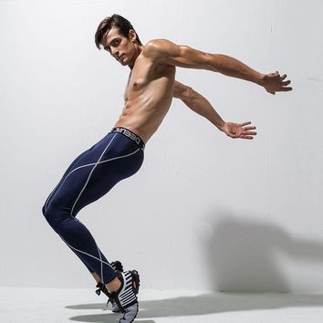 Sports Pants Mens Compression Tights Quick Dry Running Gym Wear Men Fitness Training Pants Men's Nylon Spandex Running Tights