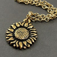 Sunflower Necklace Gold Plated Charm on a 17 by treasuredcharms
