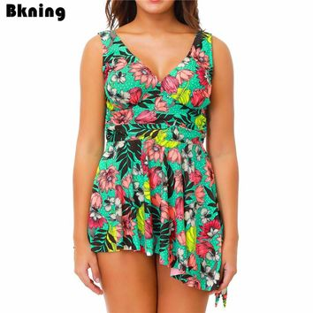 Bkning Skirt Print Swimwear Women Bikini Plus Size Swimsuit Female Two Piece Bathing Suit Strappy Floral Biquin Red Big Swim