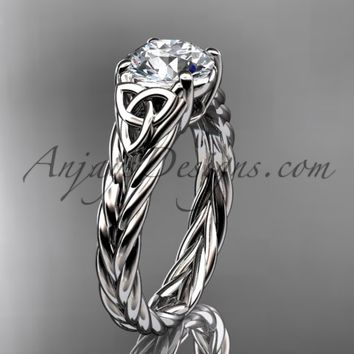 "14kt white gold celtic rope engagement ring with a ""Forever One"" Moissanite center stone RPCT9108"