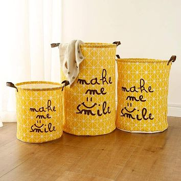 Graphic Print Round Cotton Linen Collapsible Storage Basket