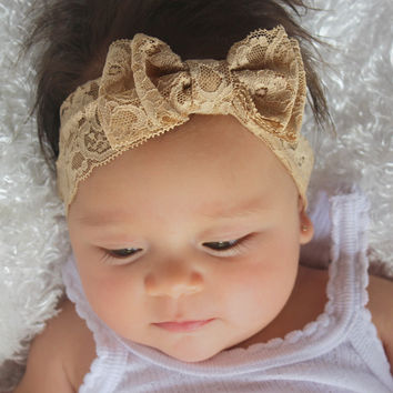 Tan Lace Bow Headband, Dazzling Headband