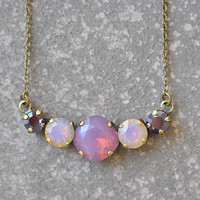 Rainbow Opal Tennis Necklace Swarovski Crystal Purple Opal RARE Rainbow Opal Garnet Rhinestone Bar Necklace Mashugana
