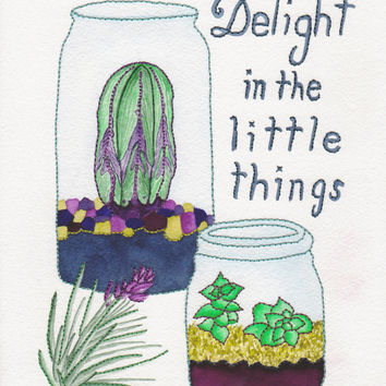 Giclee Art Print of Cacti and Succulents - Delight in the Little Things