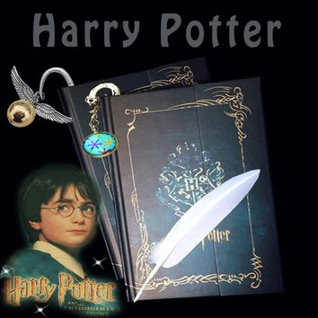 Stationery Set Harry Potter Notebook Book Bookmark Vintage Travel Diary Journal Feather Pen Retro Magnetic Magic For Potterhead