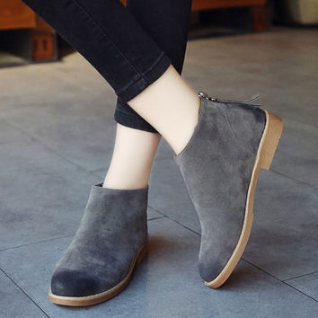 Fashion Wipe Color Vintage Women Ankle Boots Zipper Motorcycle Flat Leather Shoes For Women Casual Rubber Shoes For Girls