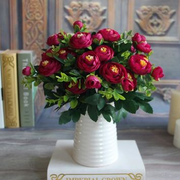 Silk Flower Fake Peony Flower Hot Vivid 6 Branches Autumn Artificial Flowers Wedding Home Party Decoration High Quality C2