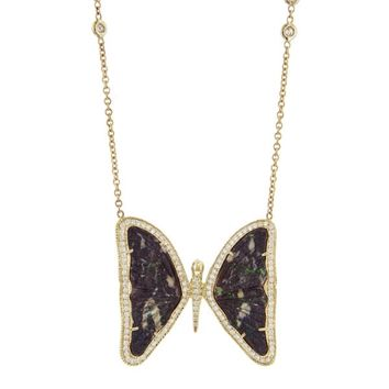 Large Opal Butterfly Necklace