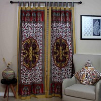 Peacock Floral Tab Top Curtain Panel Cotton Drape Red 44 x 88 inches