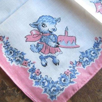 1950s Vintage Little Lamb Hankie; Blue/White/Pink Vintage Nursery Decor; Baby/Child Gift Hankie; U.S. Shipping Included